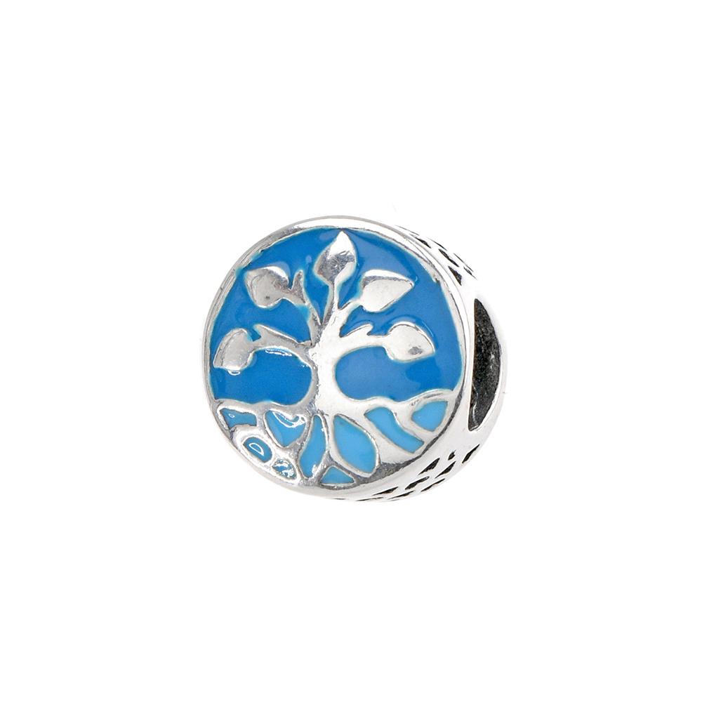 Talisman rotund tree of life, din Argint 925, cu email albastru