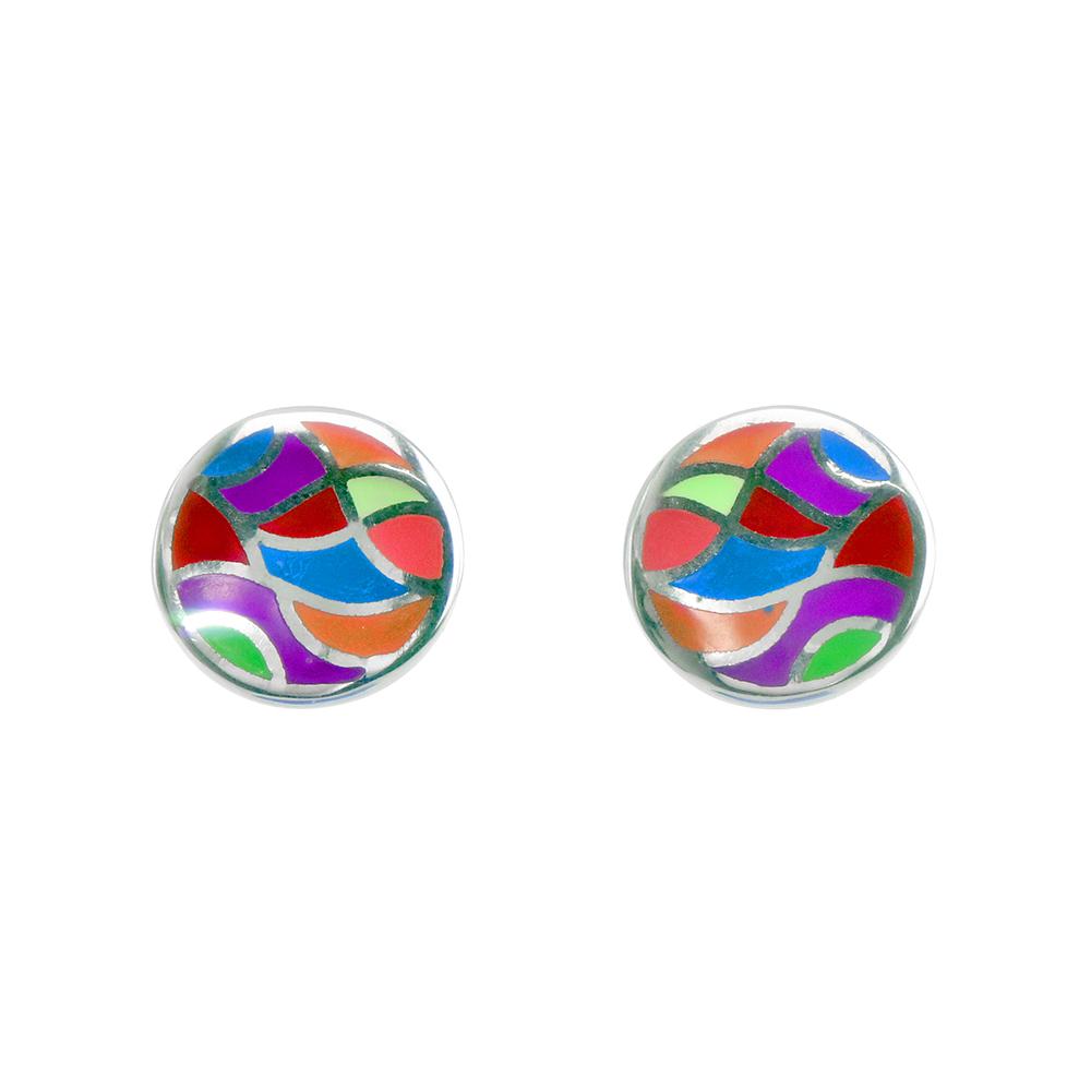 Cercei argint email multicolor