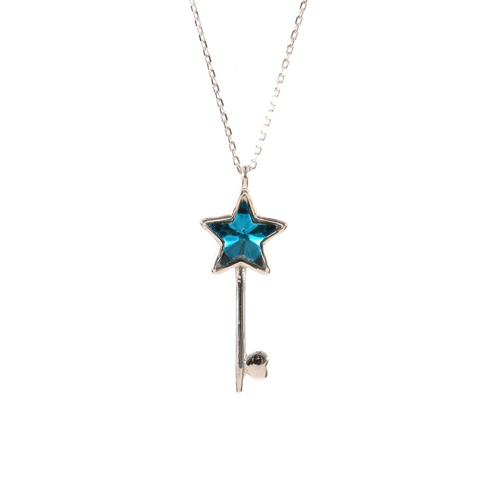 Lant argint cheie zirconiu albastru