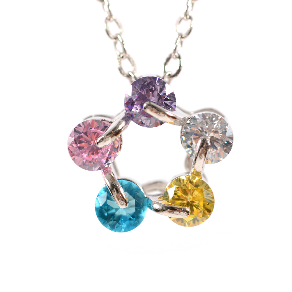 Lant argint zirconii multicolore