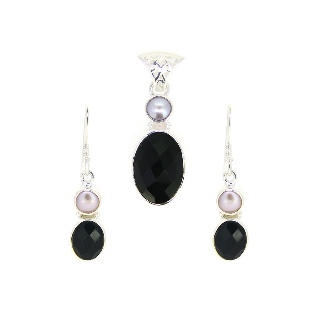 Set argint cercei si pandantiv onix negru si perle de cultura