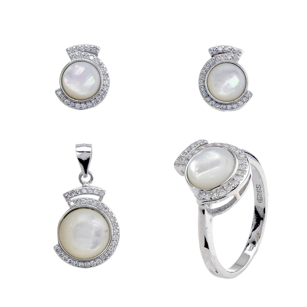 Set argint White Pearl, marime 52