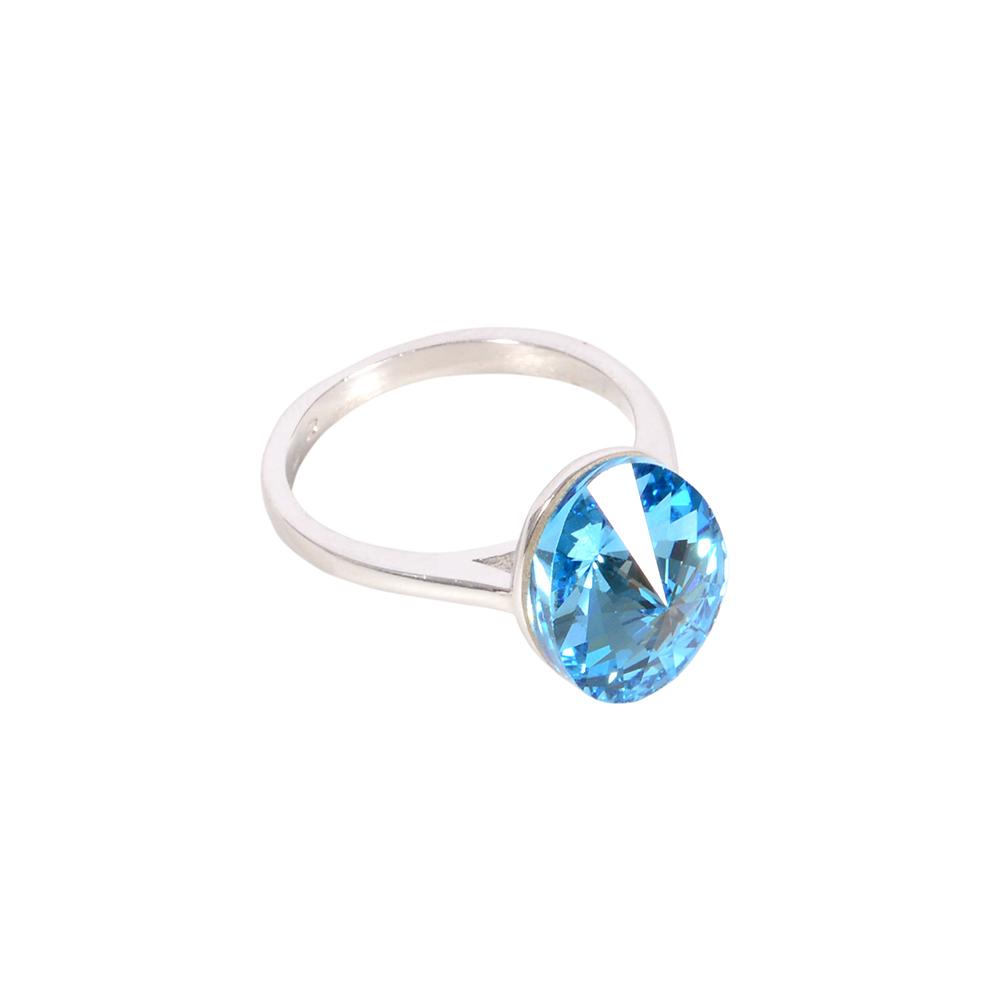 Set argint Mayra cu zirconii albastre, marime 54