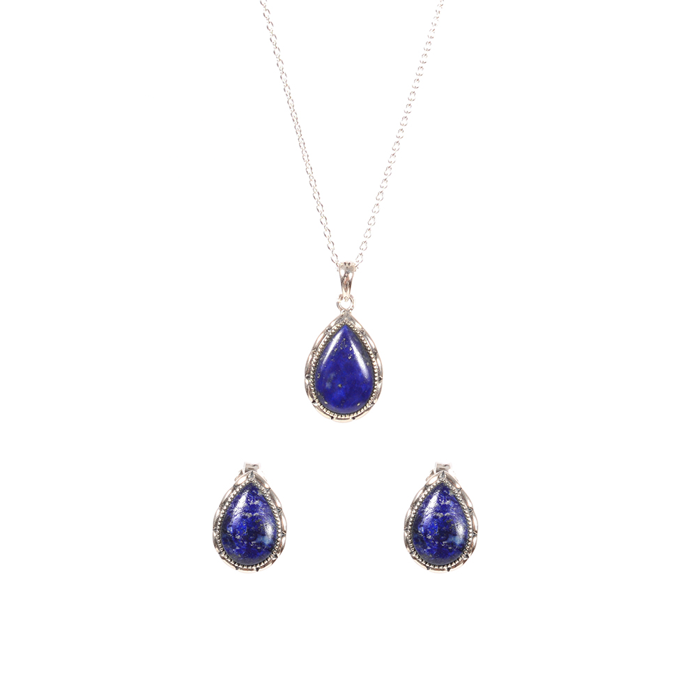 Set argint Dark Sky cercei si pandantiv lapis lazuli Thailanda