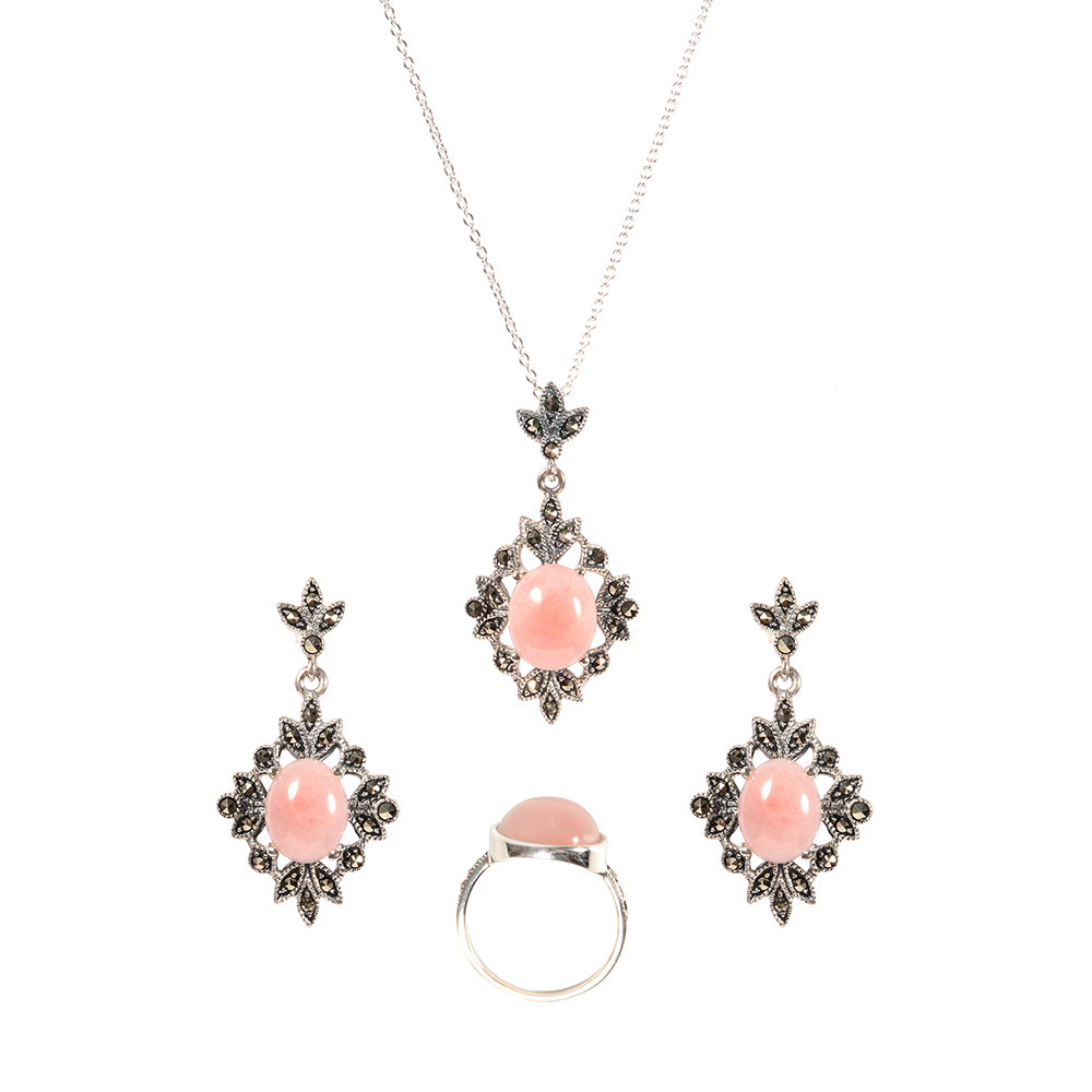 Set argint cuart roz Thailanda, marime 57