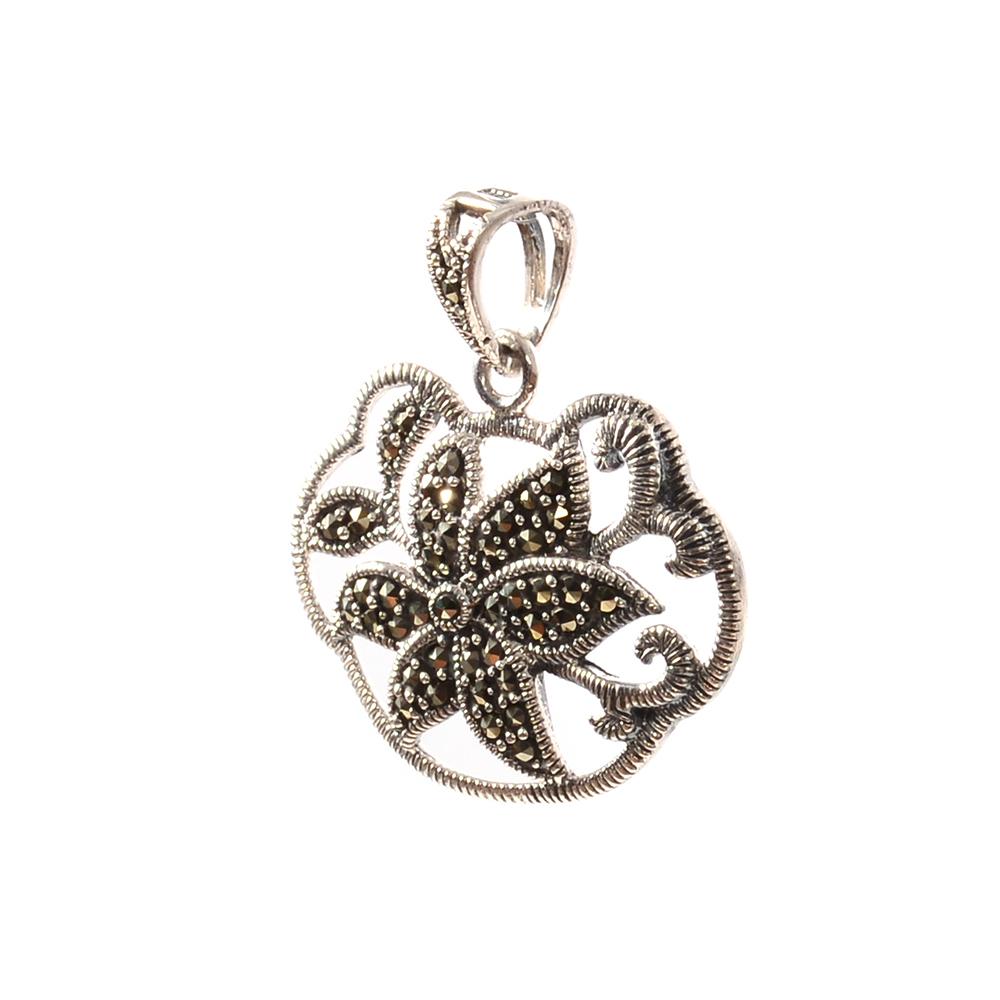 Pandantiv argint floare cu marcasite