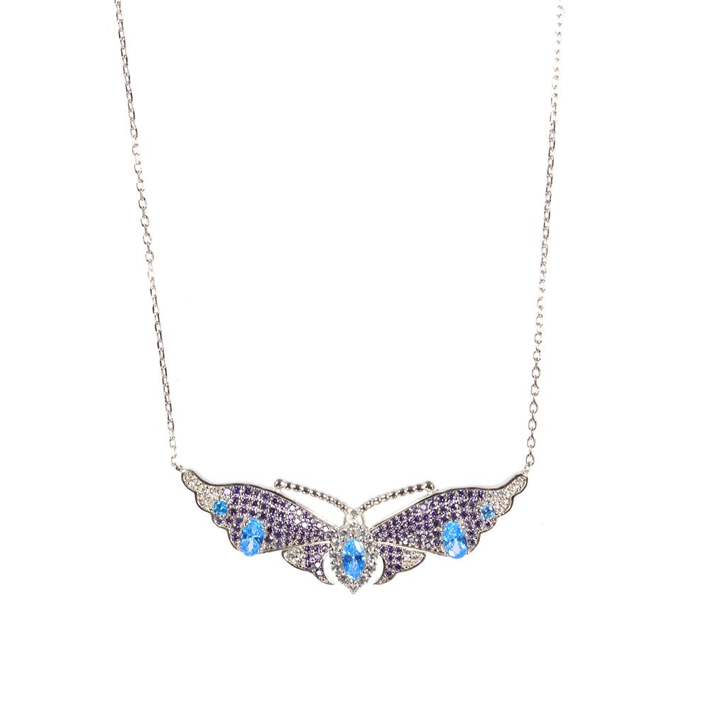 Lant argint cu pandantiv fluture multicolor