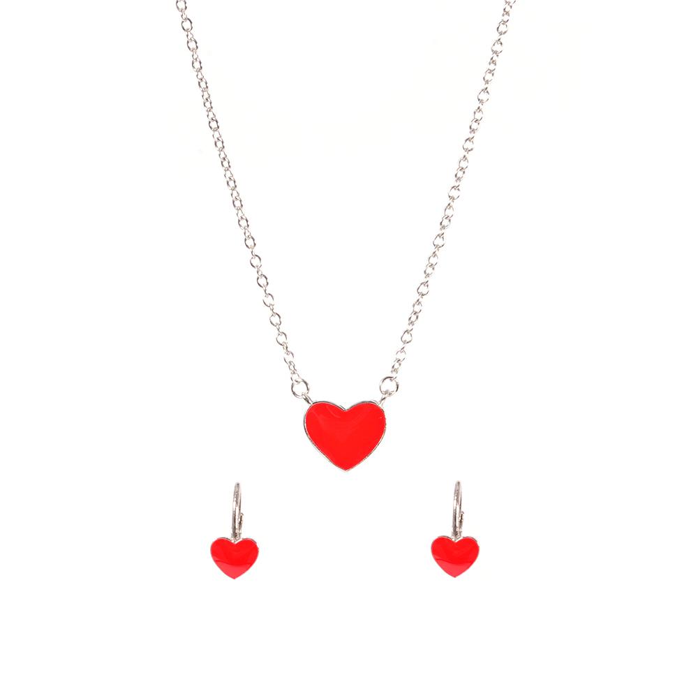 Set argint copii red heart