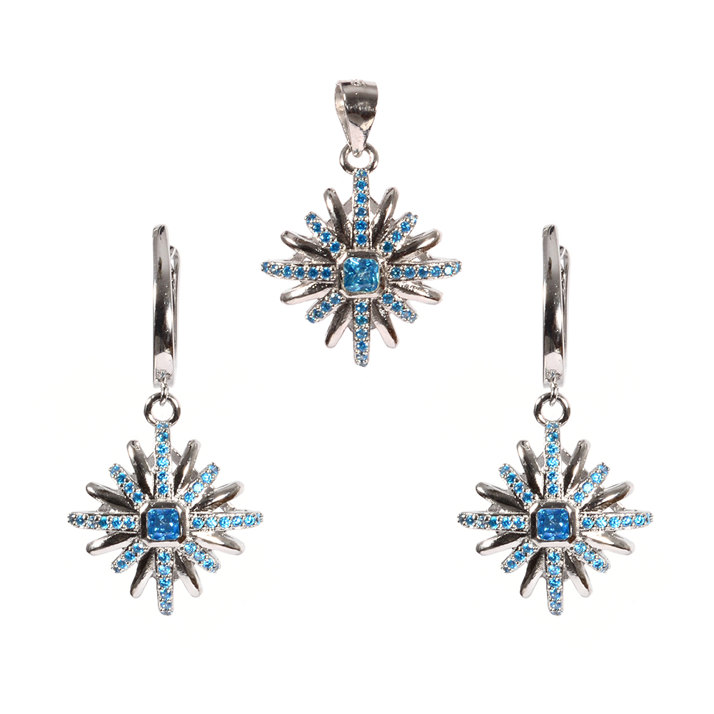 Set argint cu zirconii albastre