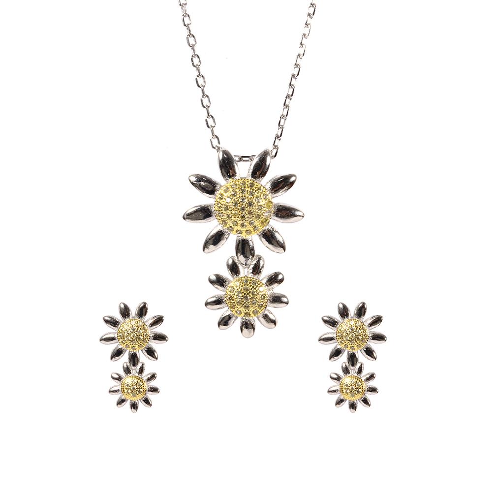 Set argint golden flower