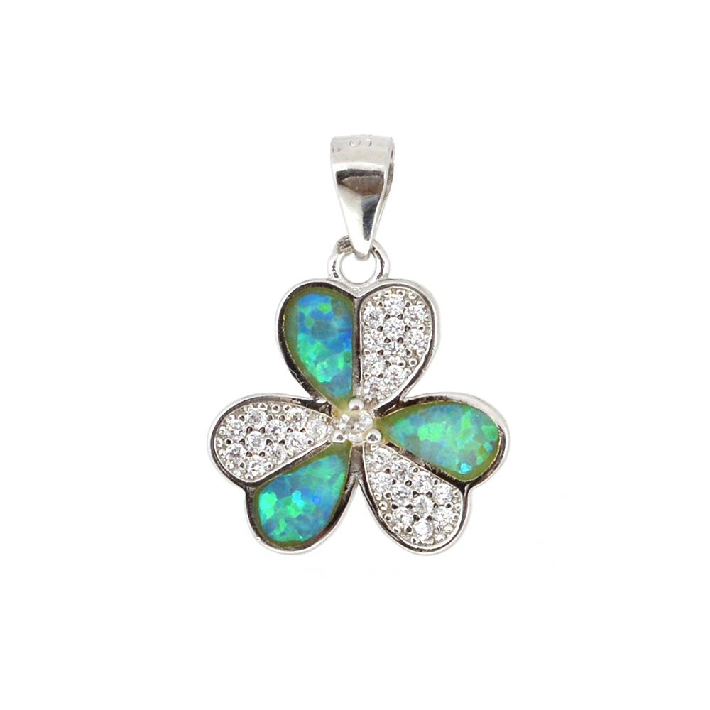 Pandant argint 925 floare cu opal verde