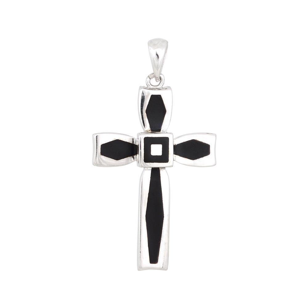 Pandantiv argint in forma de cruce cu email negru