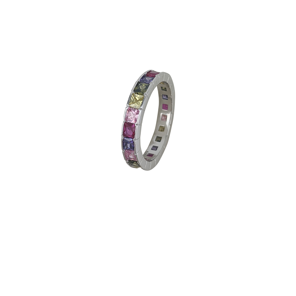 Inel argint Feya cu zirconii multicolore, marime 57