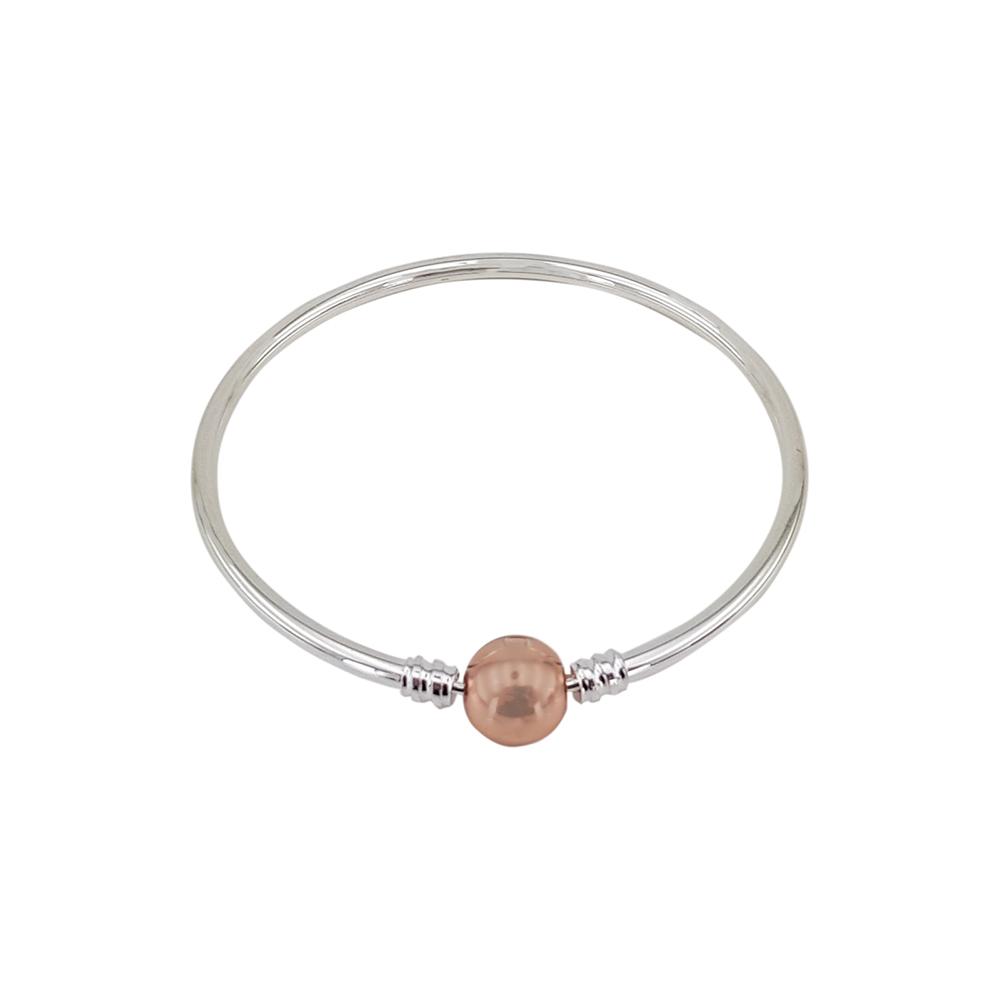 Bratara argint charm cu inchizatoare bila auriu rose, marime 19 cm