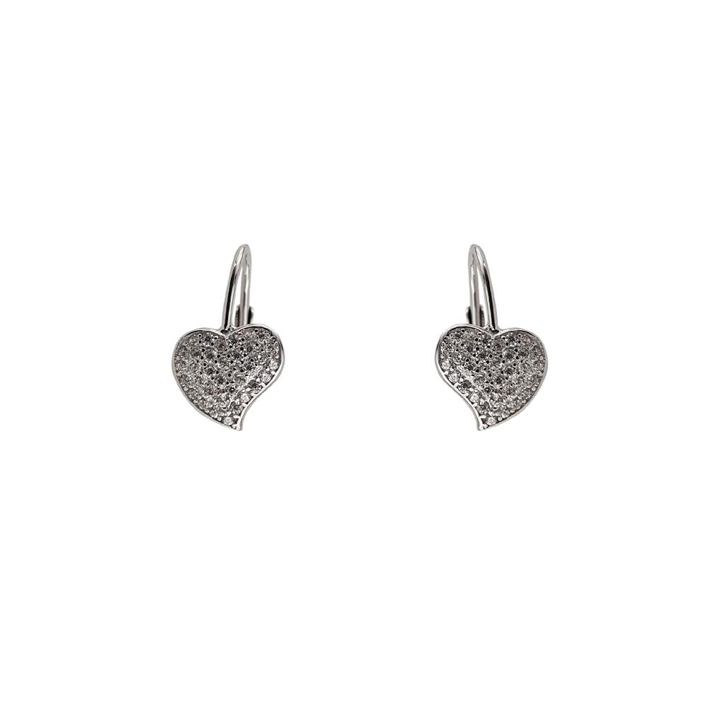 Cercei argint inima cu zirconii albe