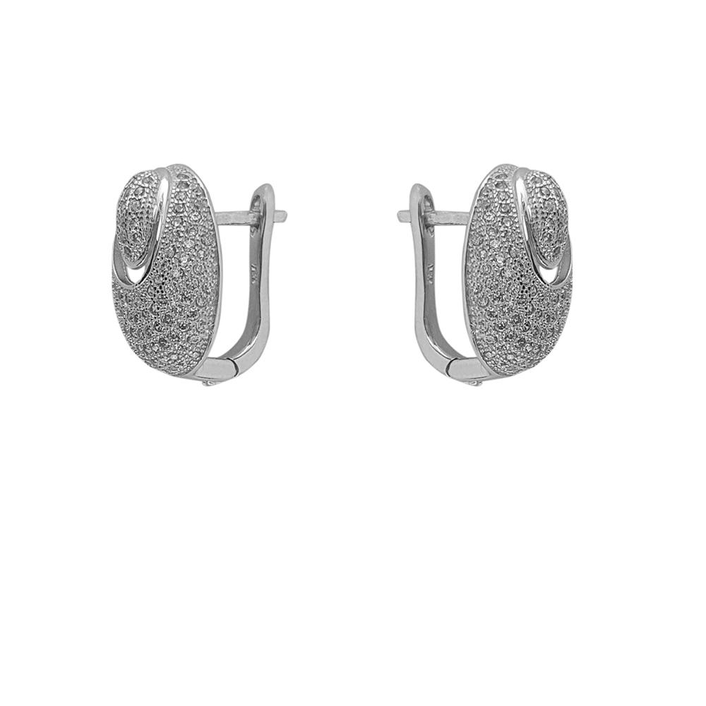 Cercei argint ovali cu zirconii albe