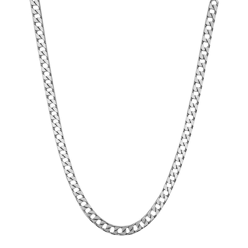 Lant barbati din argint cu zale plate, lungime 50 cm.
