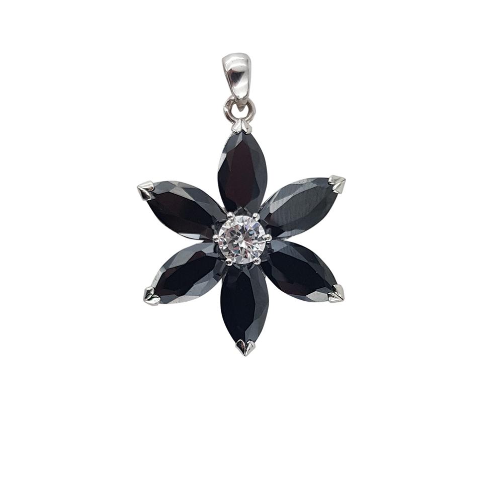 Pandantiv argint flower cu zirconii negre si albe