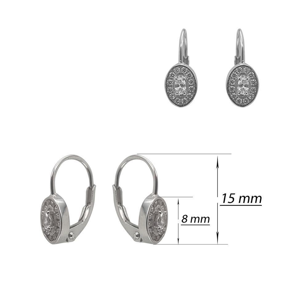 Cercei copii din argint forma ovala