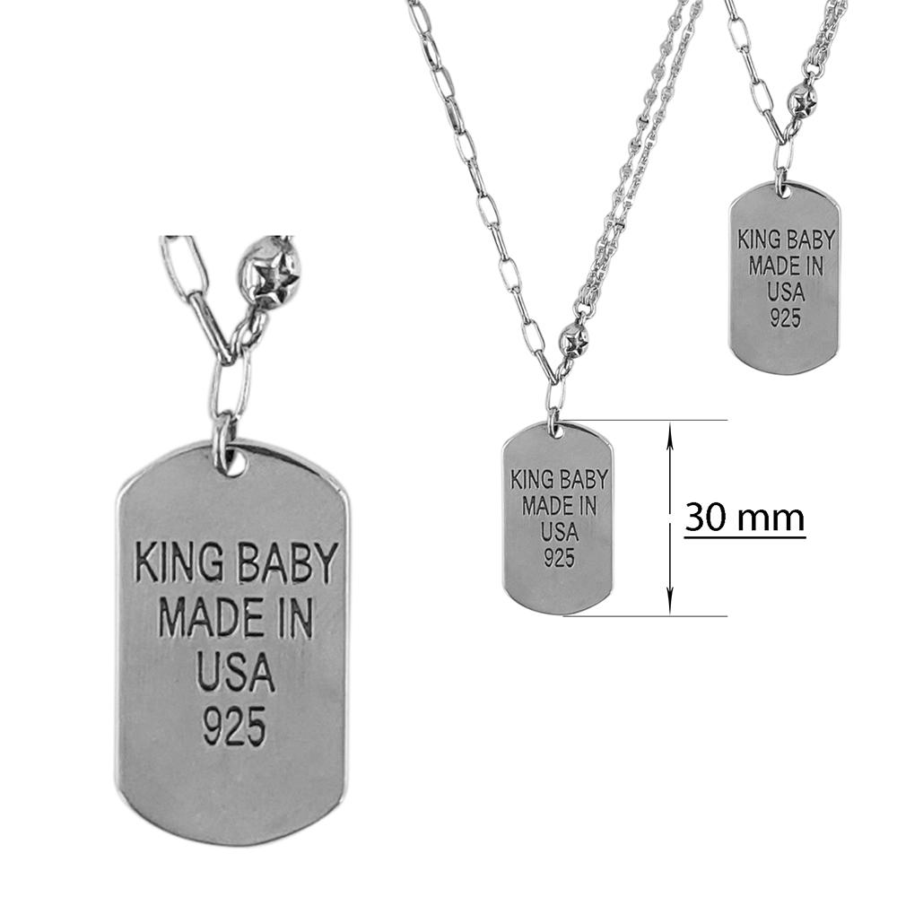 Lant argint cu placuta King Baby