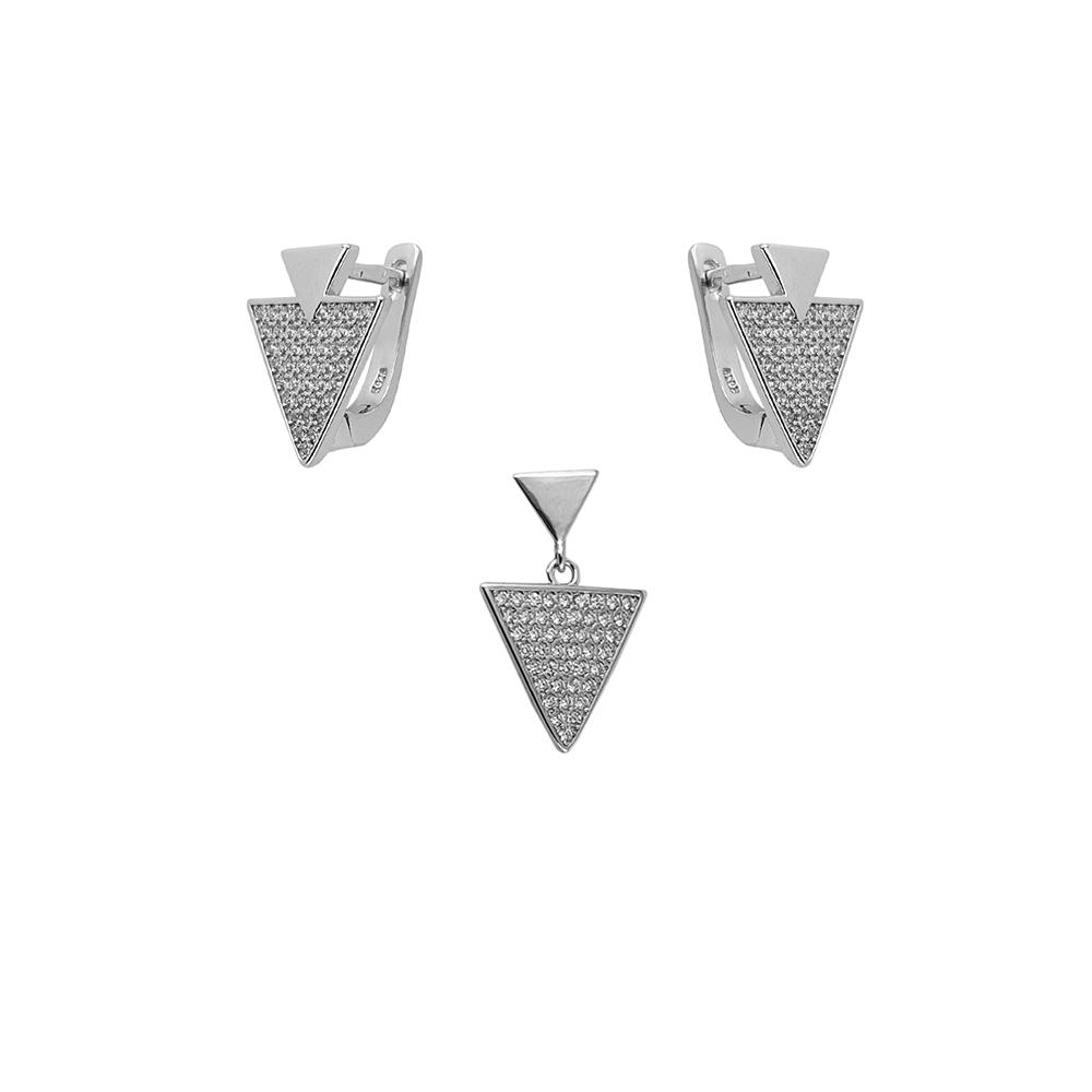 Set argint triunghi cu zirconii albe