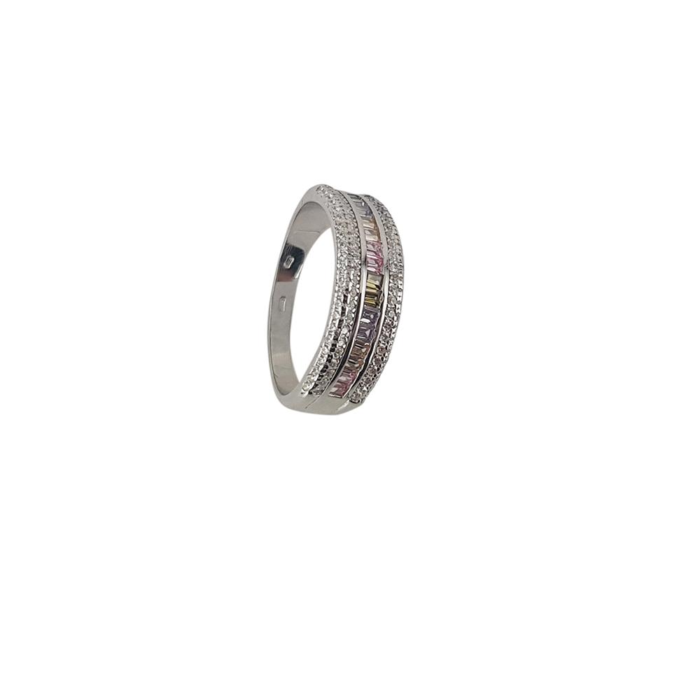 Inel argint cu zirconii multicolore, marime 56