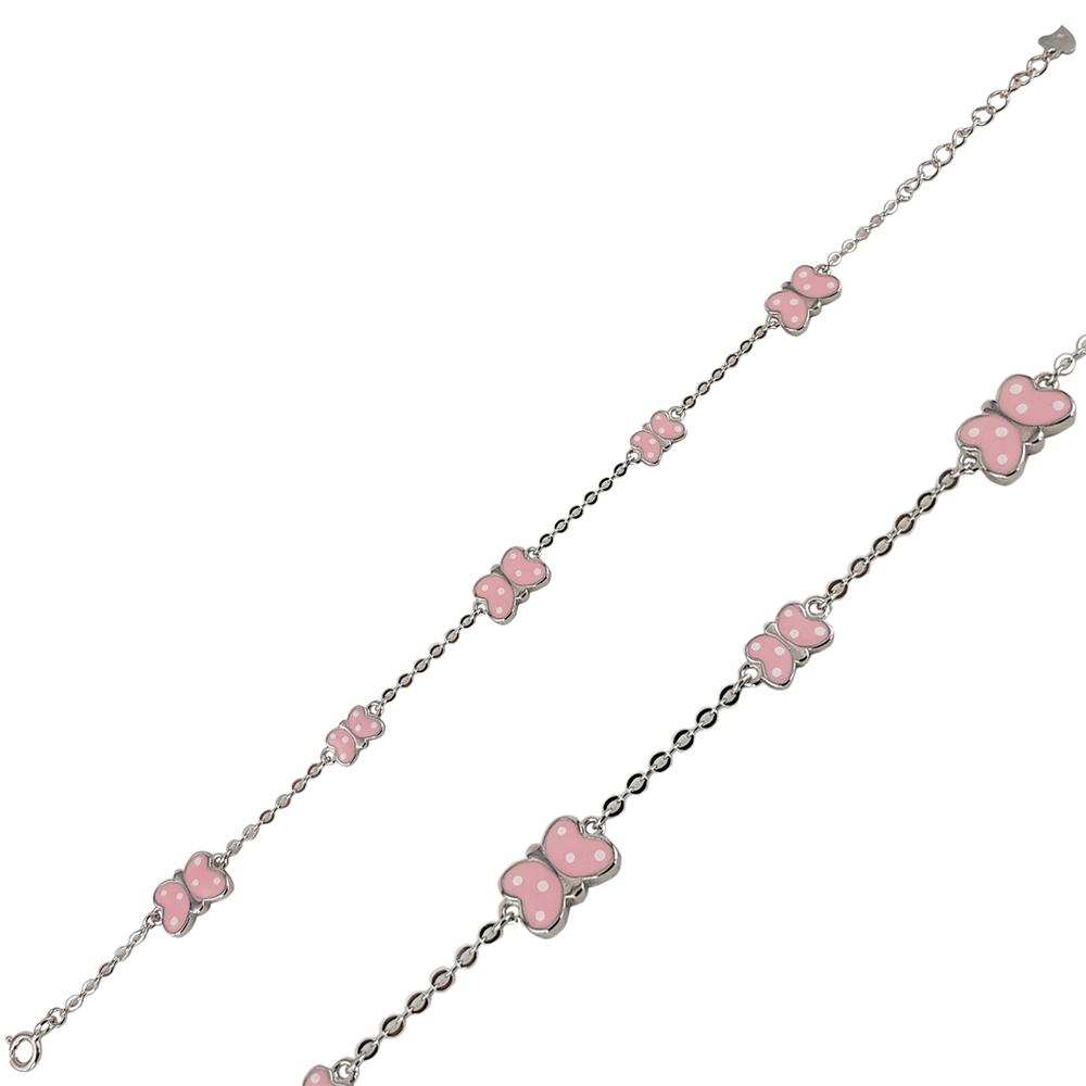 Bratara copii argint cu fluturasi roz