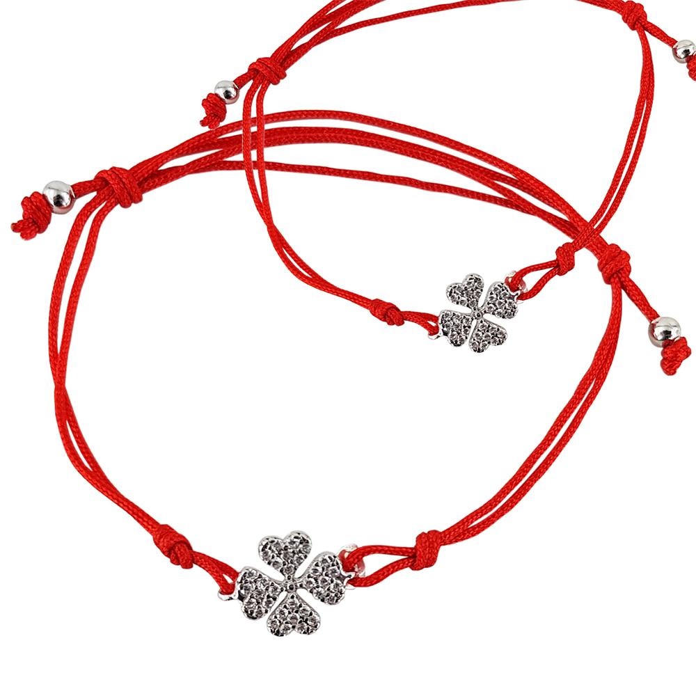 Bratara cu snur rosu si talisman trifoi