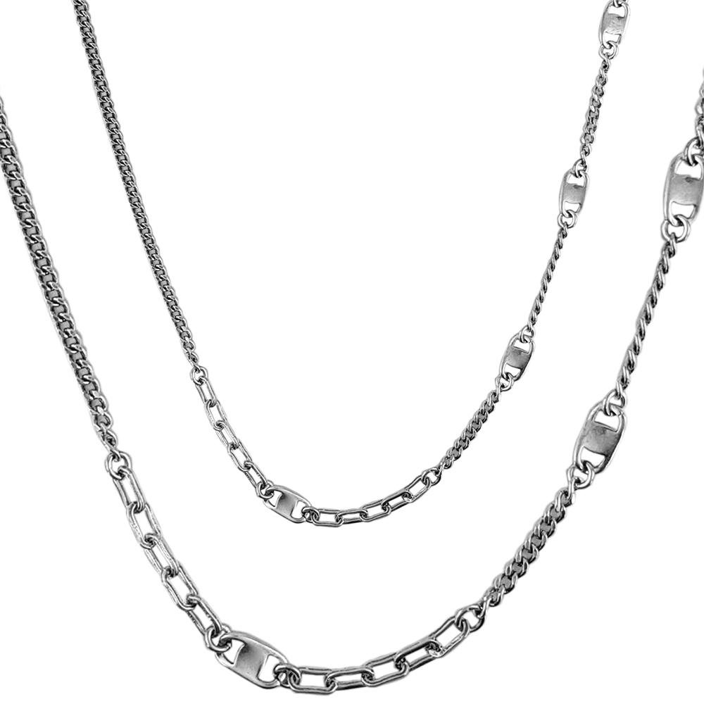Lant argint antichizat cu diferite zale