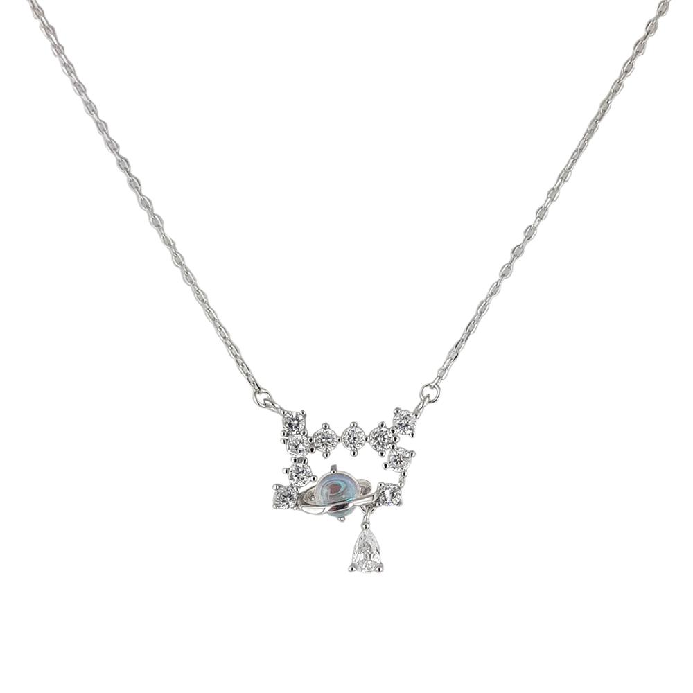 Lant argint cu pandantiv cu zirconii albe Aris