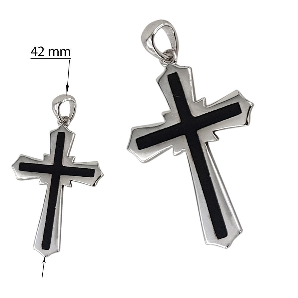Pandantiv argint christian cross cu email negru