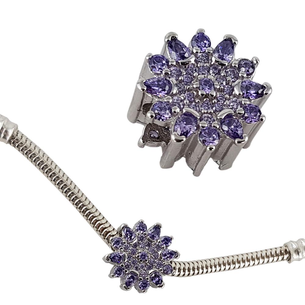 Talisman argint purple flower