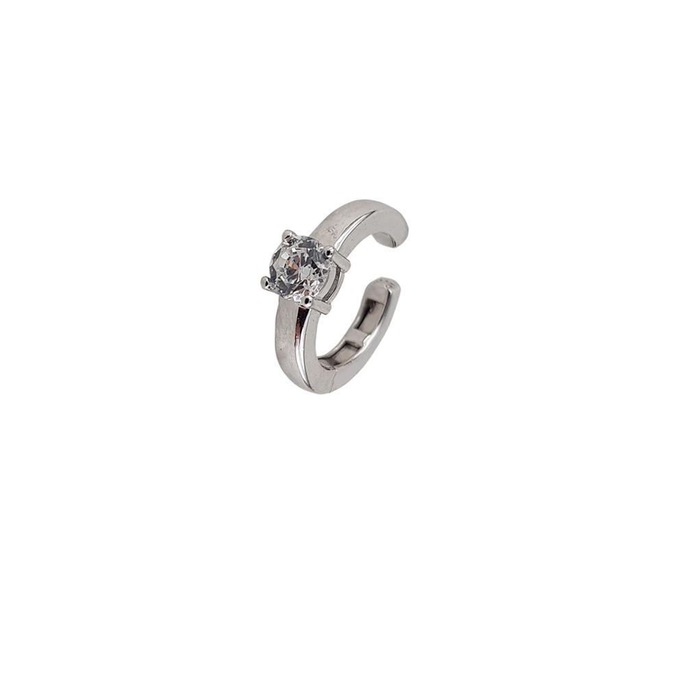 Cercei argint ear cuff cu zirconiu alb