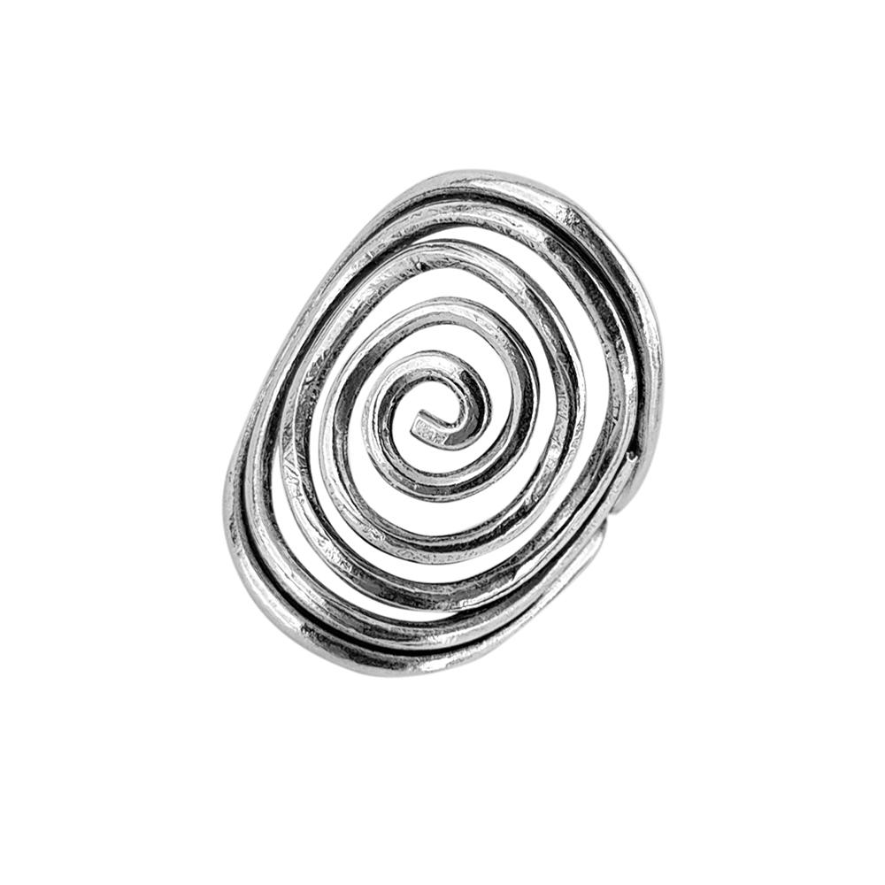 Inel argint reglabil model spirala, lucrat manual