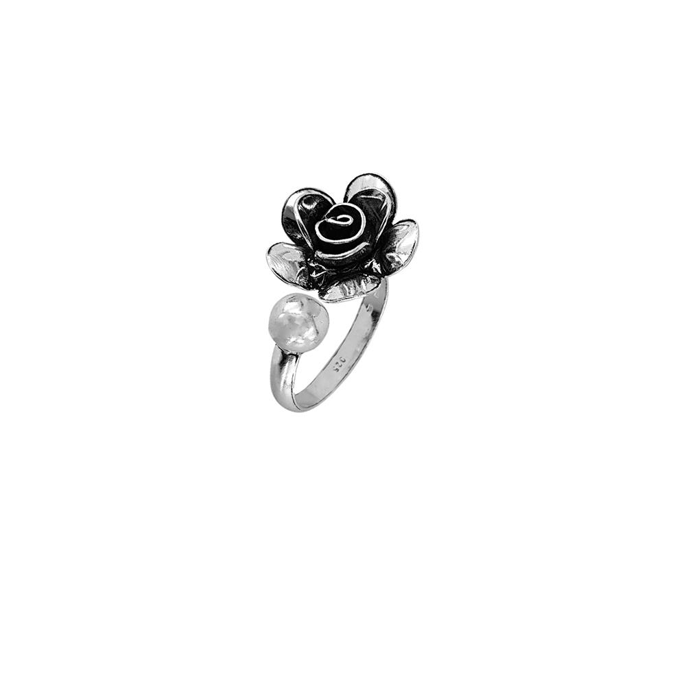 Inel argint reglabil vintage rose, lucrat manual, Indonezia