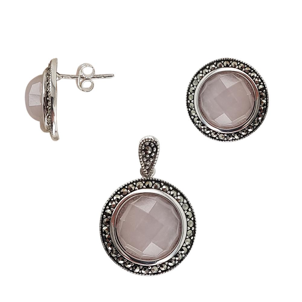 Set argint classy cu marcasite si cuart roz