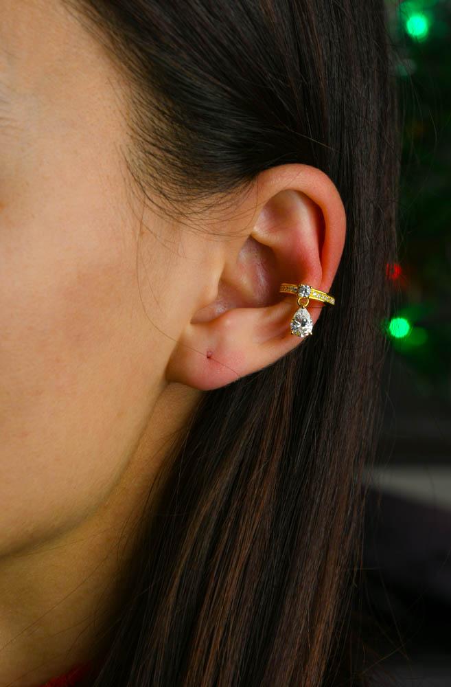 Cercei argint ear cuff cu zirconii albe