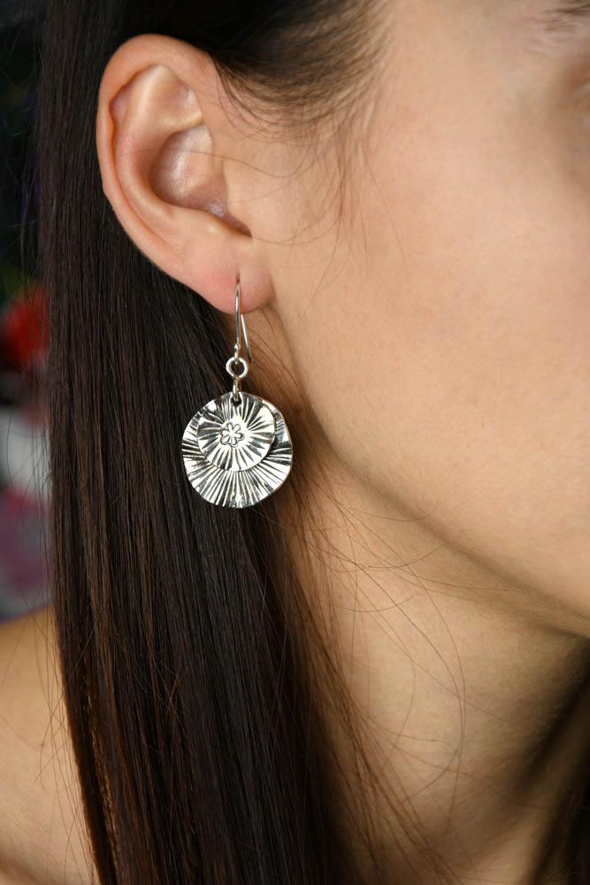 Cercei argint Ayoko, lucrati manual
