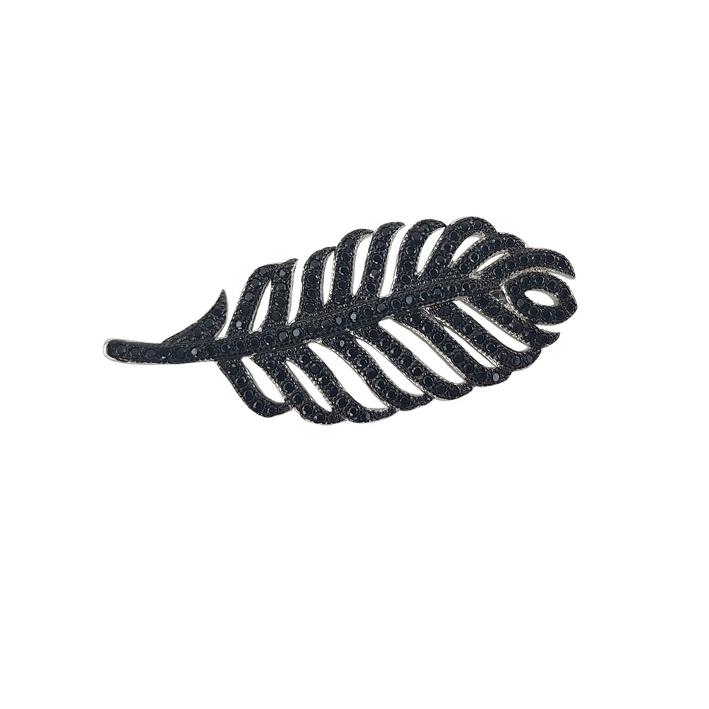 Brosa argint black leaf cu zirconii negre