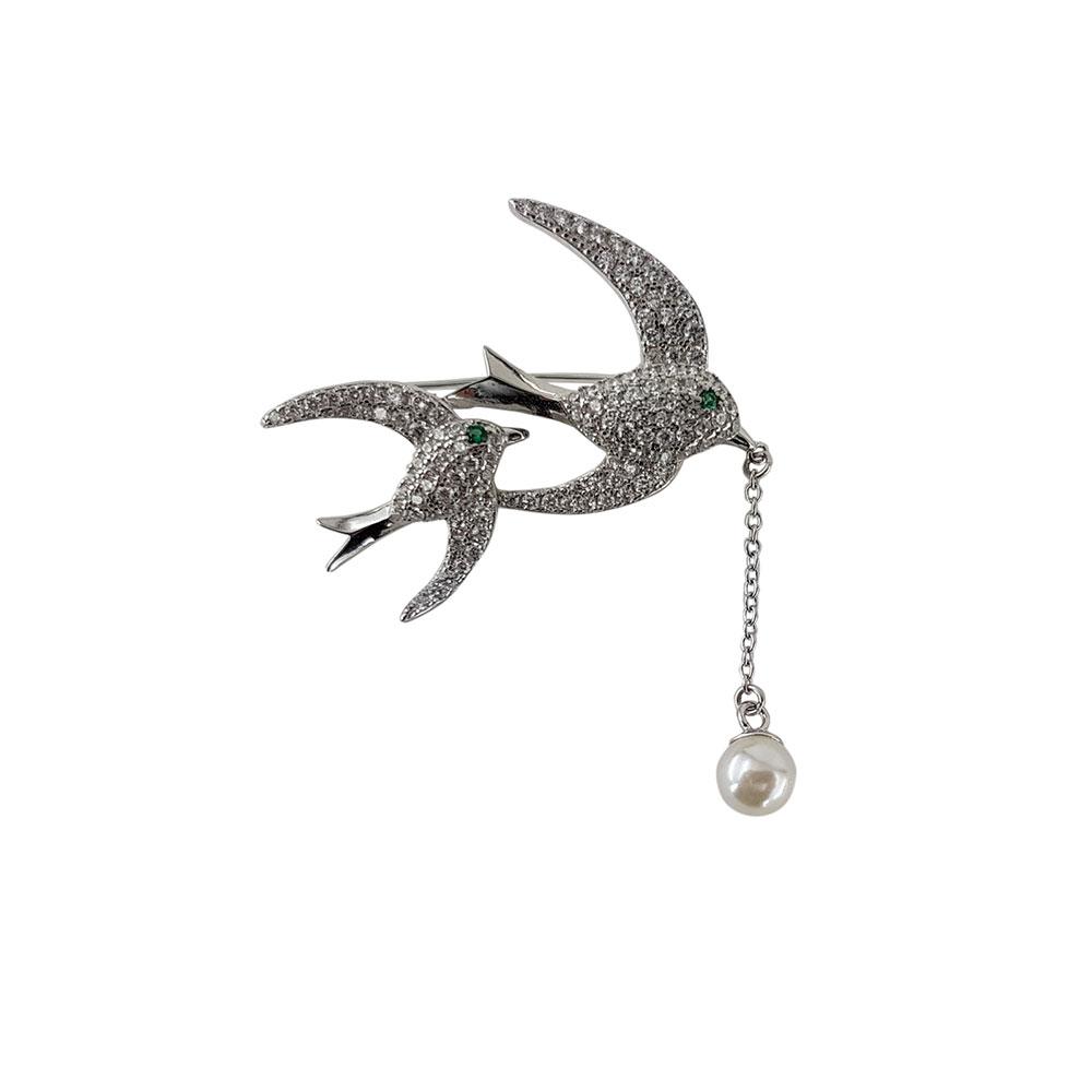 Brosa argint spring swallows
