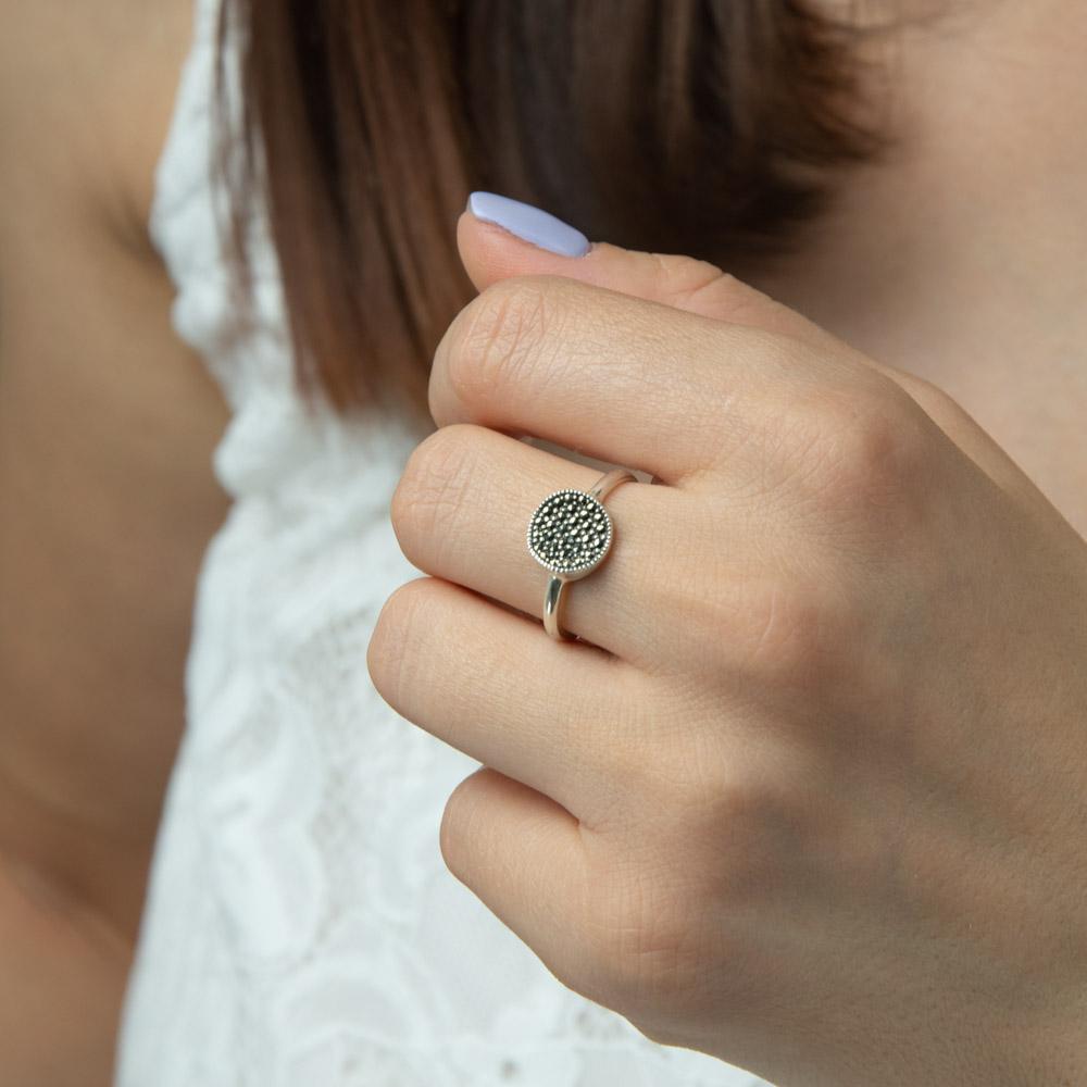 Inel argint cu marcasite shine grey, marime 59