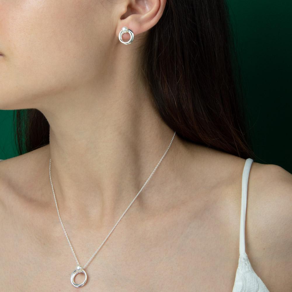 Set argint Atena cu perle de cultura