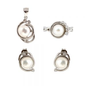 Set argint Mabel cu perle
