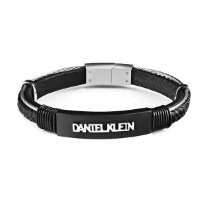 Bratara neagra, Daniel Klein, pentru barbati, din piele, DKB.6.2071.02