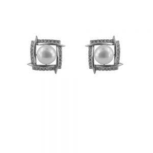 Cercei argint cu perle si zirconii albe