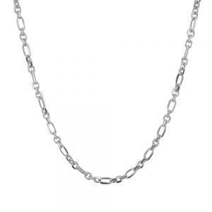 Lant barbati din argint rodiat cu diferite zale, lungime 55 cm