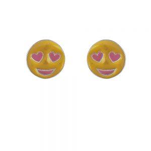 Cercei argint yellow smiley