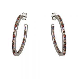 Cercei argint creole multicolore, diametru 30