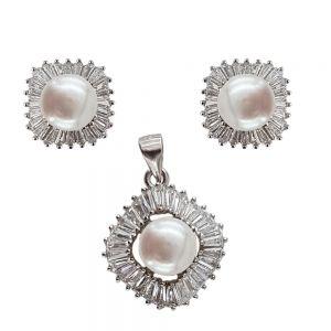 Set argint cu perle de cultura si zirconii albe
