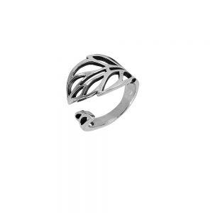 Inel argint reglabil Kiya in forma de frunza